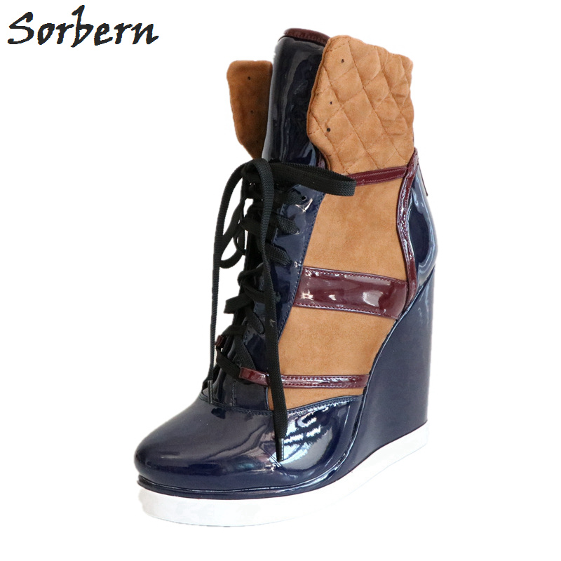 Sorbern High Heel Wedge Ankle Boots Lace Up Size 43 Round Toe Winter Shoes Women Patchwork