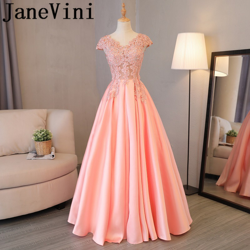 JaneVini 2018 Sexy Illusion Beaded Long   Bridesmaid     Dresses   with Sleeves V Neck Lace Appliques Floor Length Formal Party Gowns
