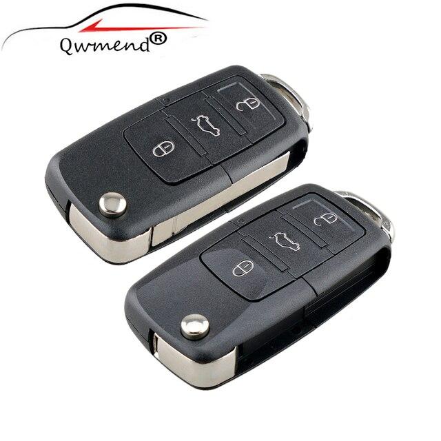3 przyciski odwróć obudowa pilota z klucz samochodowym do siedzenie do skody dla Volkswagen VW pokrowce samochodowe dla Golf Passat Polo Jetta Touran Bora Sharan