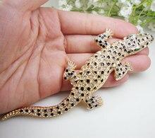 Vintage Gecko Animal Pendant Woman Crocodile Brooch Pin Clear Crystal Lizard