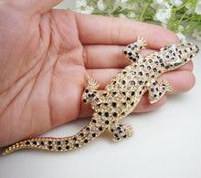 Vintage Gecko Hayvan Kolye Kadın Timsah Broş Pin Temizle Kristal Kertenkele