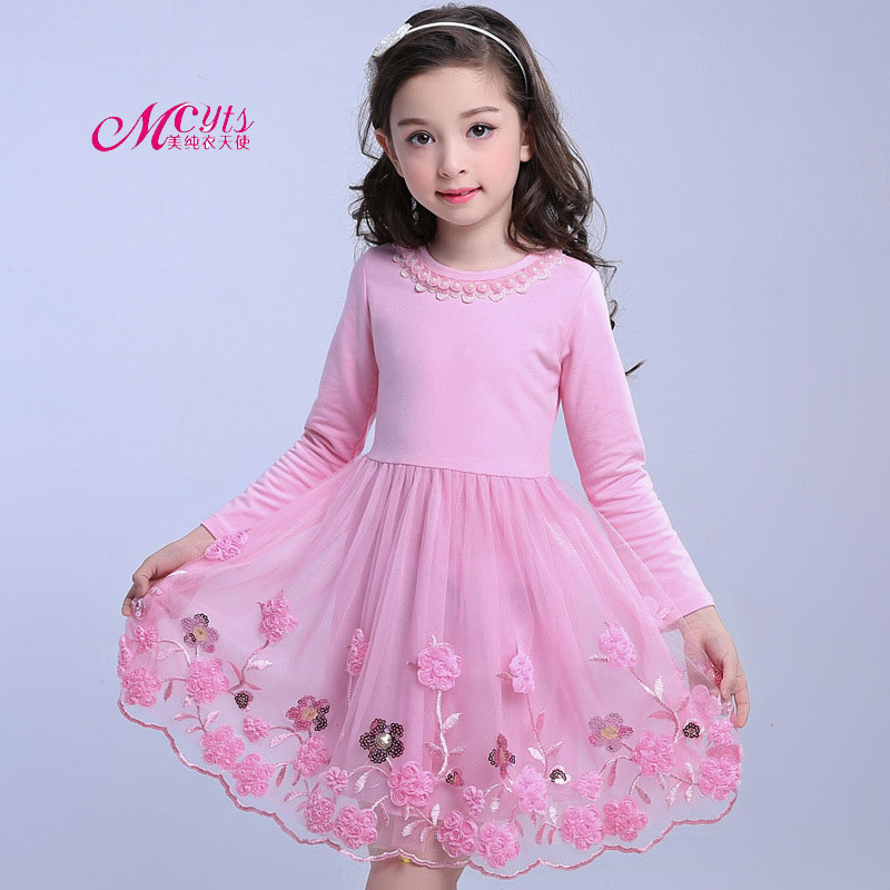 Kids Girls Dress 2018 New Spring Autumn Children Party Wedding Princess Lace Clothes Ball Gown Girl Dresses 4 6 8 10 12 13 Years 2016 new fashion spring autumn girls false two dress children stripe princess dress korean leisure kids clothes dc095