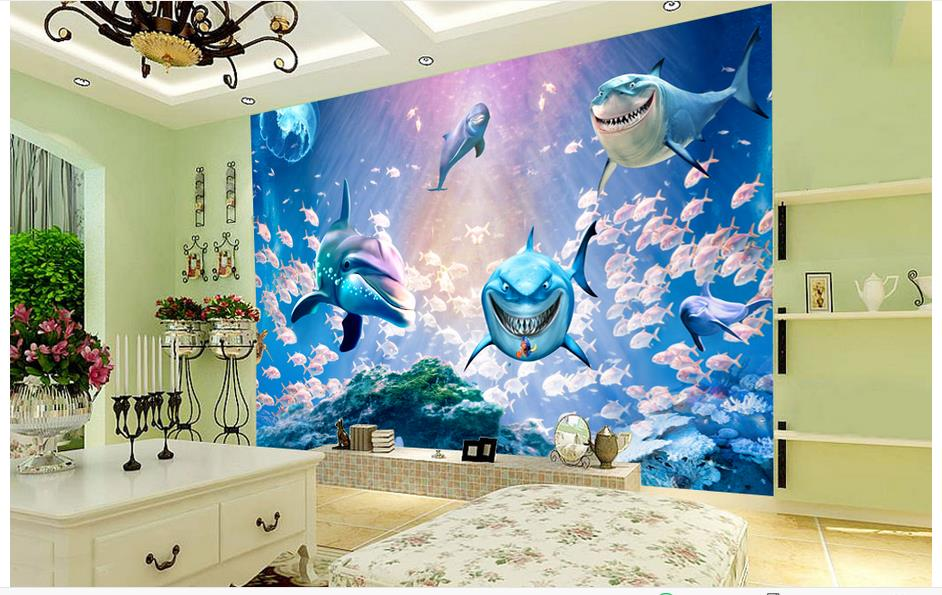 3d photo wallpaper custom 3d murals wallpaper Mediterranean Sea wall paper Blue underwater world background wall home decor