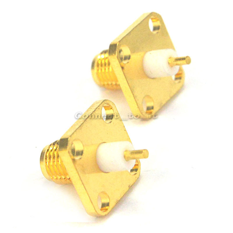 (100 pieces/lot)  SMA female 4 hole panel mount Jack solder Post terminal connector-in Connectors from Lights & Lighting    1