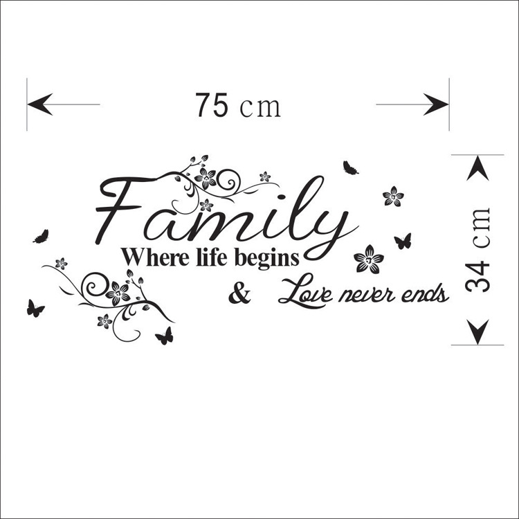 Modern Home Decor Decals Family where life begin Quotes Wall Sticker Vinyl Character Quotes Living Room Decals BD 4 in Wall Stickers from Home Garden
