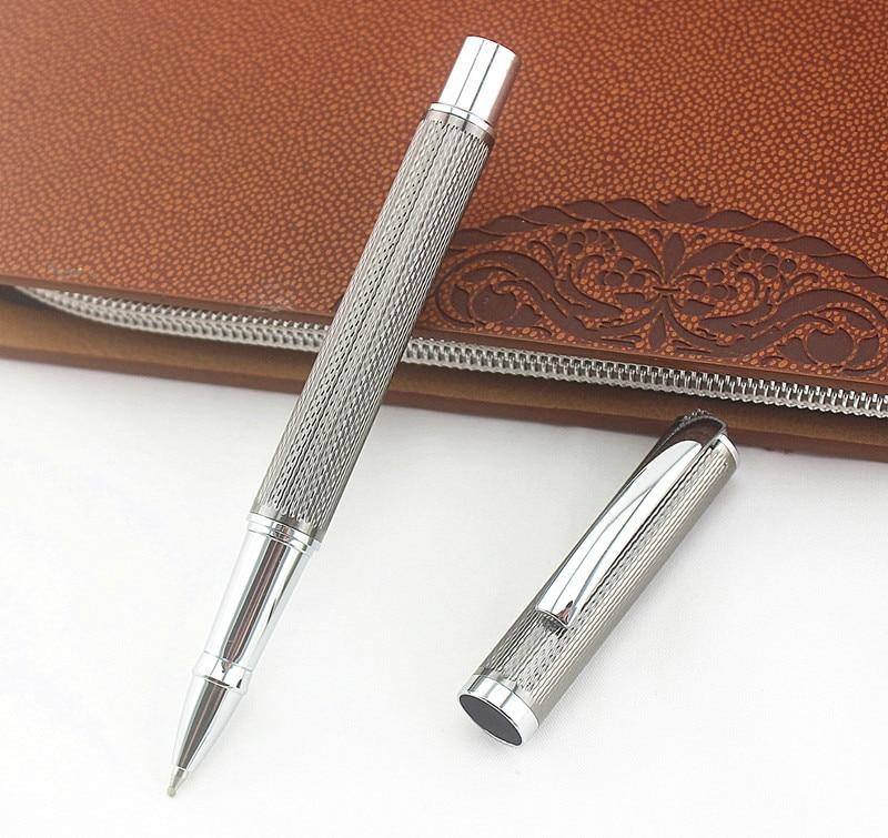 Metal Mesh Gray 0.5mm Metal Roller Ball Pen Luxury Ballpoint Pens Business Office Writing Gift