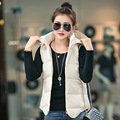 Plus Size L-3XL Winter Vest Down Women Outwear Vest Coats Cotton Hooded Winter Warm Womens Vests 5 Colors Y1021-55D