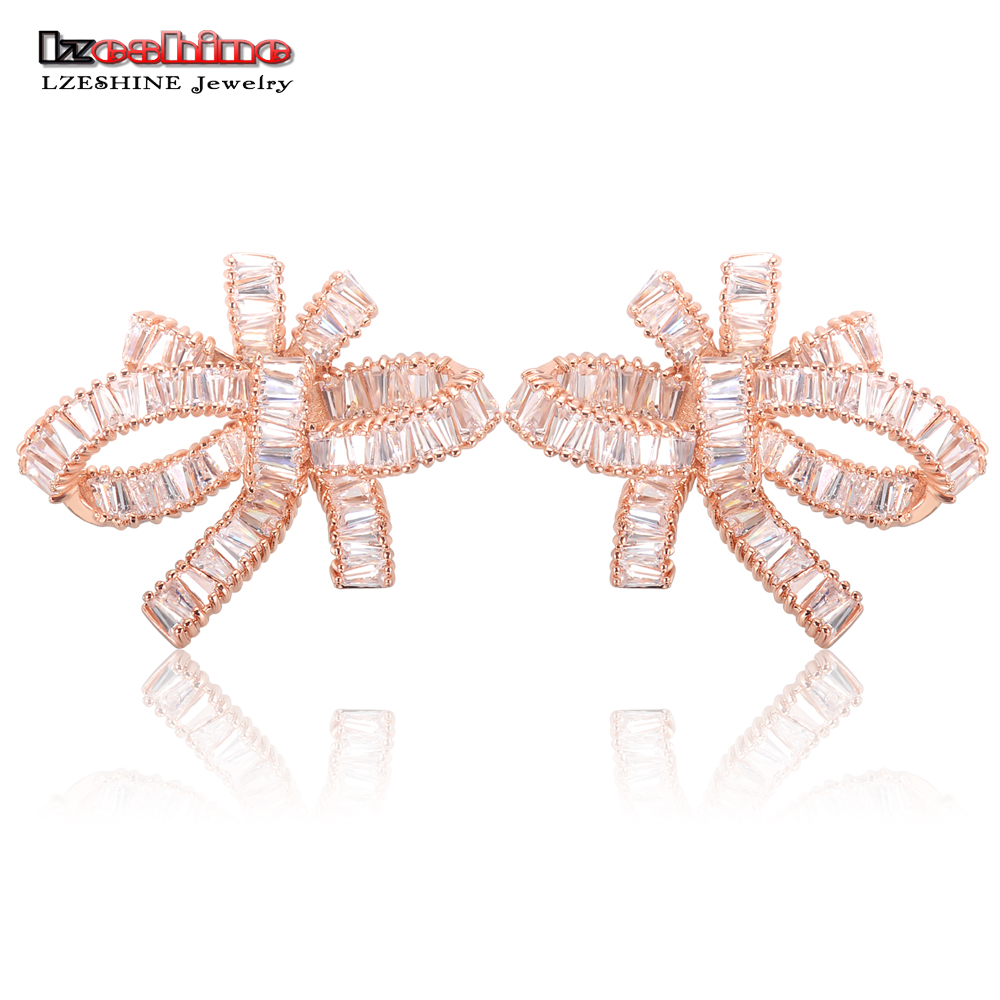 Lzeshine Exaggerated Bow Shaped Earrings Stud Rose Gold Color With Aaa Cubic Zirconia Bride Jewelry Cer0513 In From