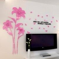 Venda quente da flor do Lírio de acrílico cristal 3d adesivos de parede sala de estar decoração do quarto quente