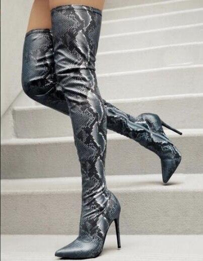 Bahar Yeni Marka Kadın Python Yılan Derisi Pu Stiletto Topuklu Sivri Burun İnce Diz Üzerinde Uyluk Uzun Çizmeler Bordo artı Boyutu
