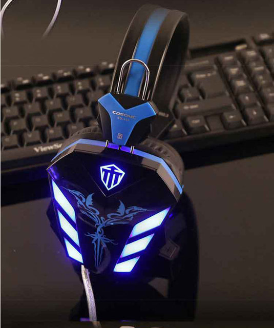 Professional computer gaming headphone Cosonic CD-618 with LED lights and super Bass sound for laptop desktop PC