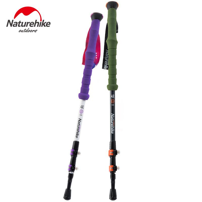 Naturehike 2Pcs Ultralight Walking Hiking Stick Trekking Poles Carbon Fiber Adjustable Camping Nordic Walking Cane NH80A089-Z