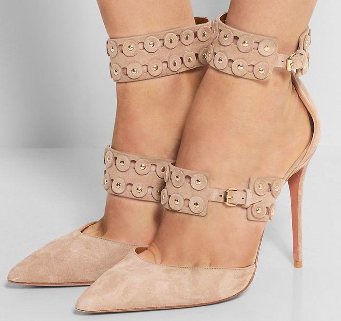 Femme sexy pompes élégant ivoire talons aiguilles gracieux cercle trou découpes studed conception cheville boucles bout pointu robe chaussures