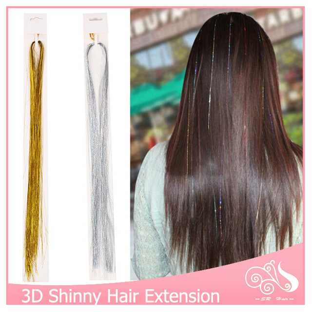 10pcs Lot Clip In Hair Extensions 16Inch BellaVia Tinsel Extension Bling String 3D Rainbow
