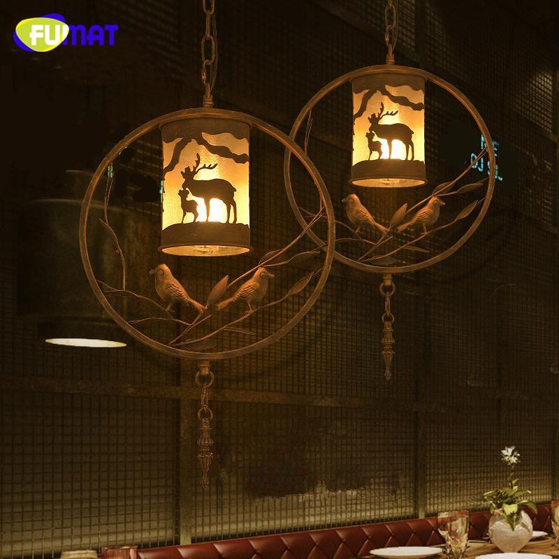 FUMAT Birdcage Pendant Light Loft American Country Metal Bird Hanging Lamps Nordic Cafe Bar Hanglamp Dinning Room Pendant Lamps