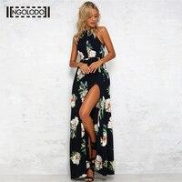 Las mujeres vestido Largo del hombro beach verano vestidos de estampado floral vintage de gasa azul marino blanco sexy backless Vestidos Maxi Bohemio