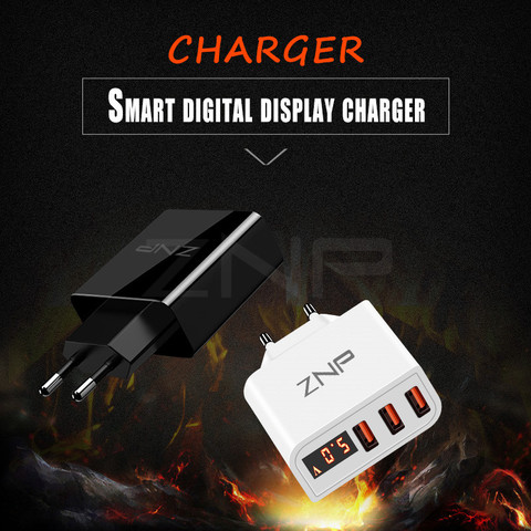 ZNP Universal 15W USB Charger 5V for iPhone XS Max X EU Plug LED Display Mobile Phone Fast Charging for Samsug S10 Xiaomi Huawei Multan
