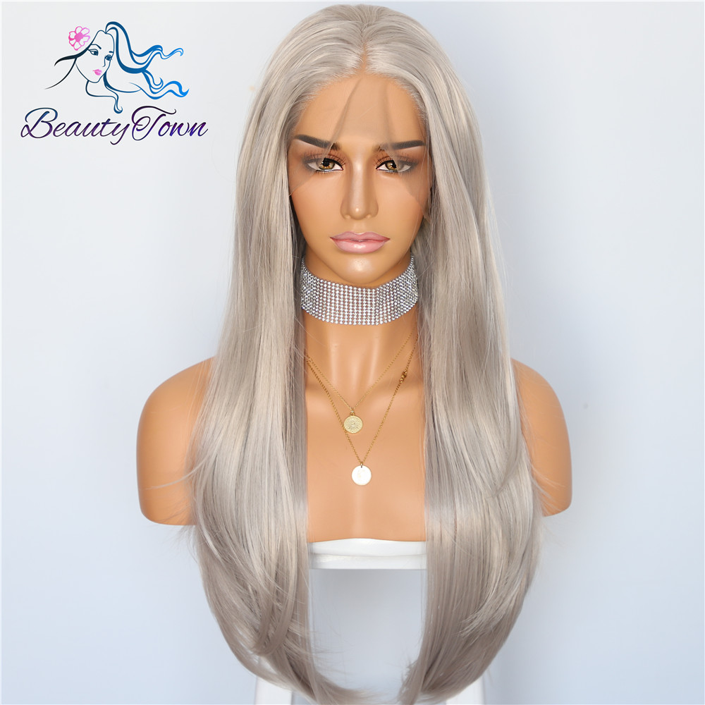 BeautyTown Platinum Gray Loose Wave Glueless Heat Resistant Hair Natural Wave Long Soft Party Synthetic Lace