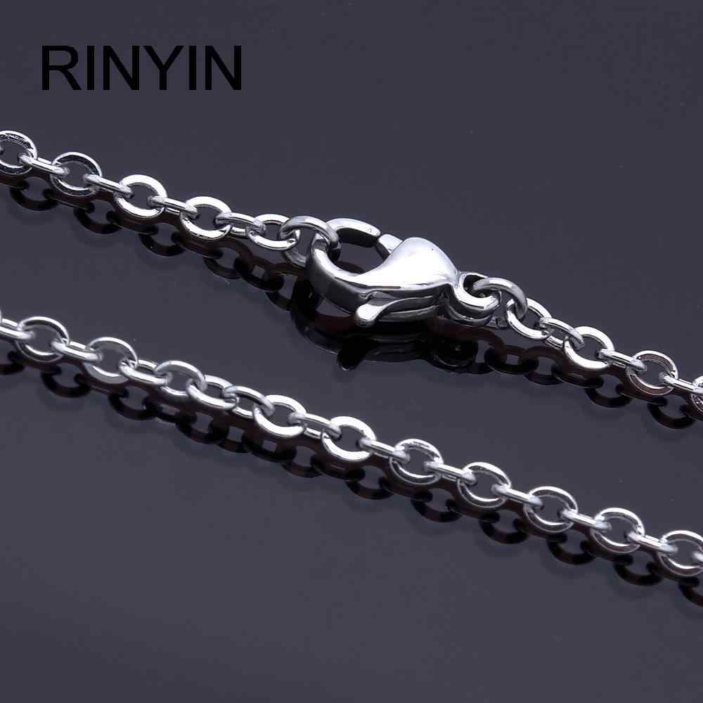 "Men Women Jewerly 1mm 16"" 18"" 20"" 22"" 24"" Inches Links Chain Fashion Necklace Stainless Steel Necklace Classic Pop Rolo Chains"