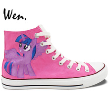 Wen Pink Hand Painted Shoes Design Custom My Little Horse Women High Top Canvas Sneakers Gifts for Girls