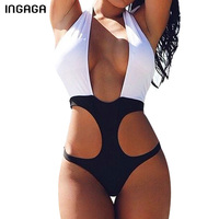 INGAGA One Piece Swimsuit 2017 New Sexy Halter Swimwear Women Monokini Swimsuit Summer Beach Wear Bathing