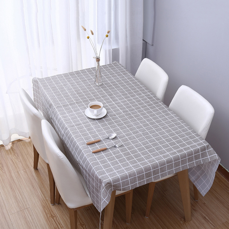 1 Pcs Plaid Table Cloth Waterproof Oil-proof Rectangle Table Cover Tablecloth Home Kitchen Decor XH8Z JA02