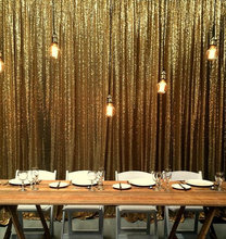 LQIAO Glitter Gold Sequin Backdrop 8FT X 9FT Embroidery Sequin Fabric Curtain for wedding Photo booth Party Photography Backdrop