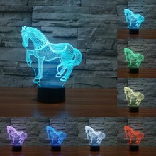 7 Colors Changing Animal Novelty Horse 3D Night Light For Kids Animal Led Table lamp Led Bulb nightlight for child gift IY803406