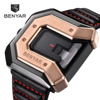 BENYAR New Style Mens Watches Men Fashion Quartz Wristwatches Cool Big Golden Case Leather Military Relogio