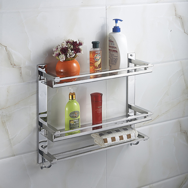 MTTUZK DIY Badezimmer Regale 304 Edelstahl Doppelschicht Waschmaschine  Doppelhandtuchhalter Kosmetik Rack Bad Zubehör