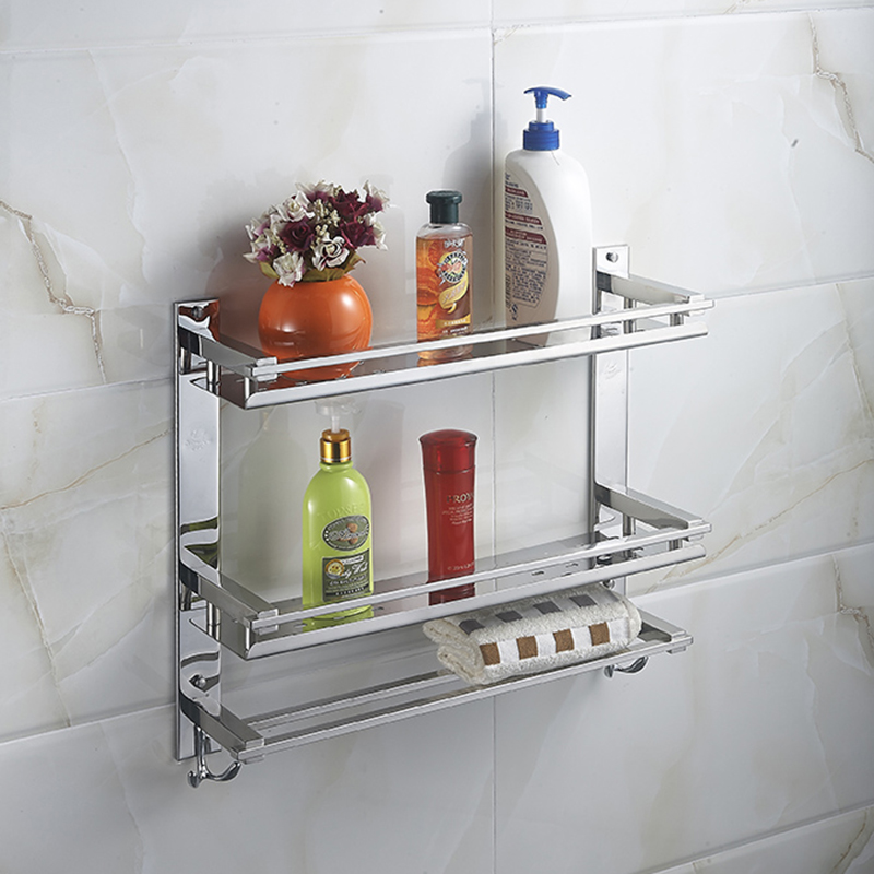 MTTUZK DIY Bathroom shelves 304 stainless steel double layer washing machine double towel rack cosmetic rack bathroom accessorie double eleven drum washing machine refrigerator shelf bracket cradle moves wholesale stainless steel
