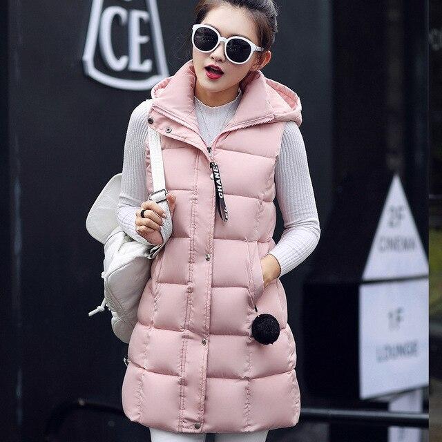 2016 Women Cotton Long Vest Winter Lady Fashion Jacket Sleeve Less Warm Waist Coat