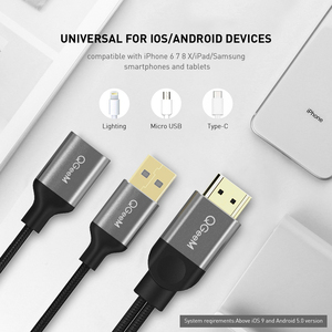 Image 3 - QGeeM USB to HDMI Cable for iPhone 8 X 7 6 Plus iPad TV Android Phones to MHL Adapter 1080P Converter For iPhone HDMI Cable