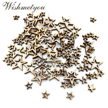 WISHMETYOU 100pcs Hollow Star Shape Natural Wooden Discs For Handmade Diy Party Decor Home Arts Crafts Birthday Finding Wood New