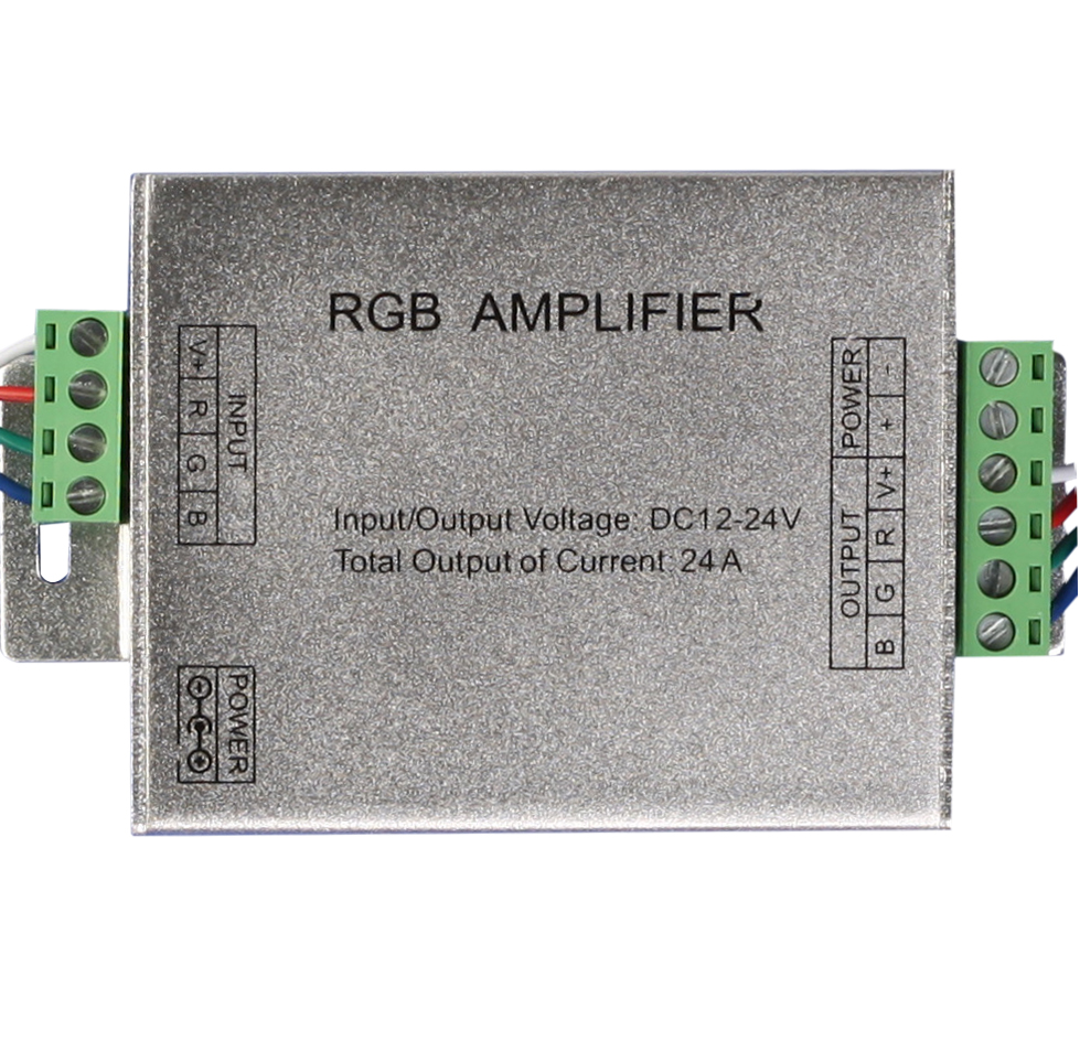 24A Amplifier for RGB LED Strip DC 12V-24V Aluminum Case RGB Signal Amplifier for SMD 3528/5050 LED Strip Free Shippingping free shipping super wide u shape aluminum anodized profile for led strips with cover and end caps for dual row led strip