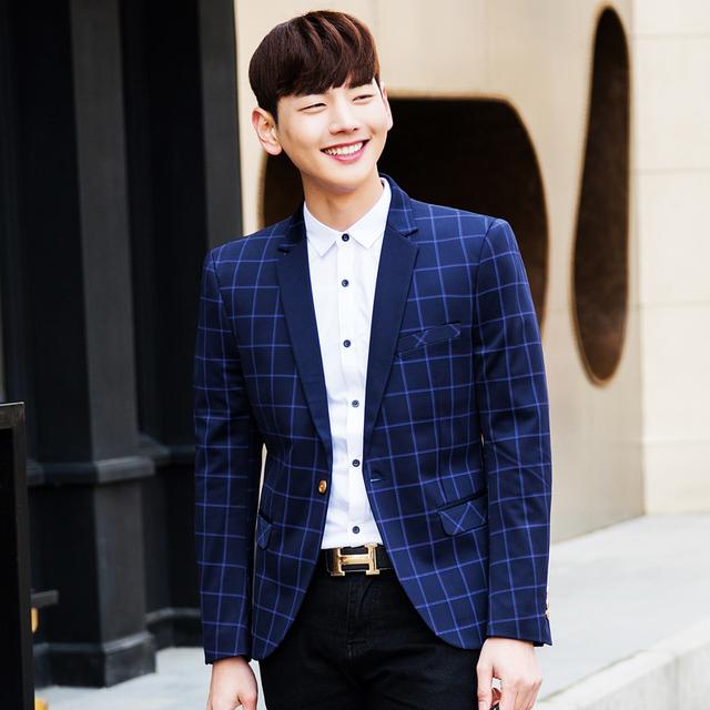 2016 Primavera Estilo de Negócios de Luxo Casual casaco Blazers Homens Terno Xadrez Conjunto Vestido De Casamento Formal Projeto Bonito jaquetas masculinas