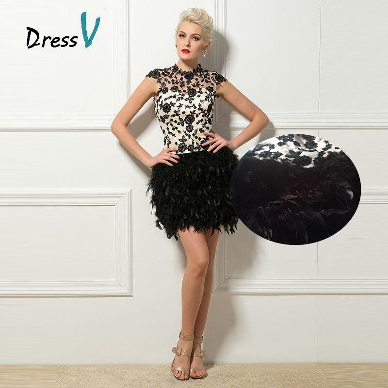 Коктейльные платья-сексуальная с коротким перья и аппликации