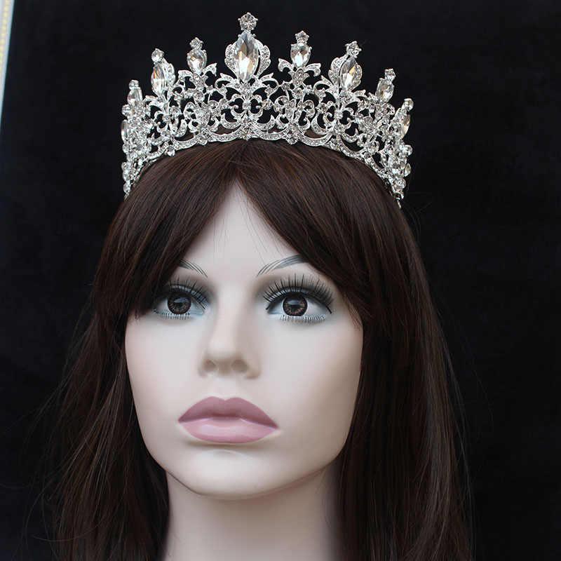 Барокко свадебная тиара красного цвета Кристалл Красивая принцесса волос золотой Корона аксессуар для волос король и королева Корона орнамент