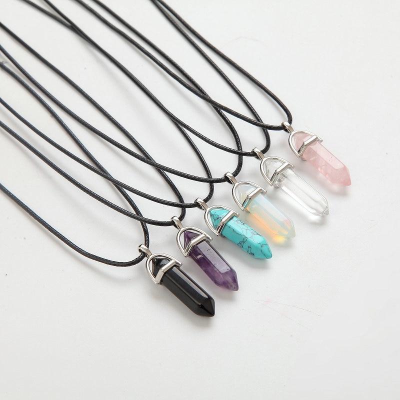 Ожерелья с шестигранной колонной, подвески из натурального кристалла, розовый кулон с фиолетовым камнем, Кожаные Цепочки, ожерелье для женщ...