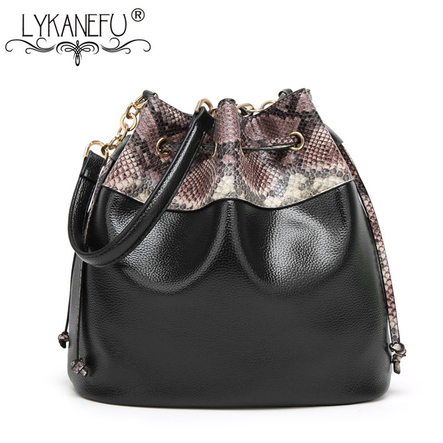 338cd1df2391 LYKANEFU PU Leather Bucket Bag For Women Messenger Bags String Lock Hobo Shoulder  Handbag Ladies Designer Bolsa Feminina