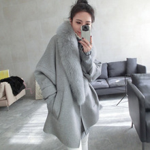 Wool Outwear Blends New Woman's Trenches Coat Autumn 2016 Fashion Female Overcoat With Fox Fur Collar Long Design
