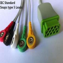 Free Shipping One Piece 5 Leads ECG/EKG Cable Snap type for GE Marquette GE Dash Pro4000, DASH PRO 3000, Dash PRO 2000,IEC TPU