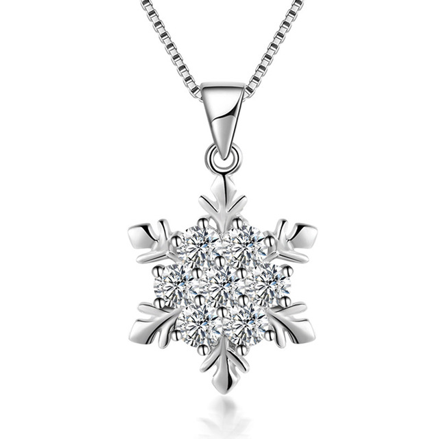 Simple Elegant Wedding Jewelry 925 Sterling Silver Cubic Zirconia Snowflake Star Necklace Women S Party Accessories