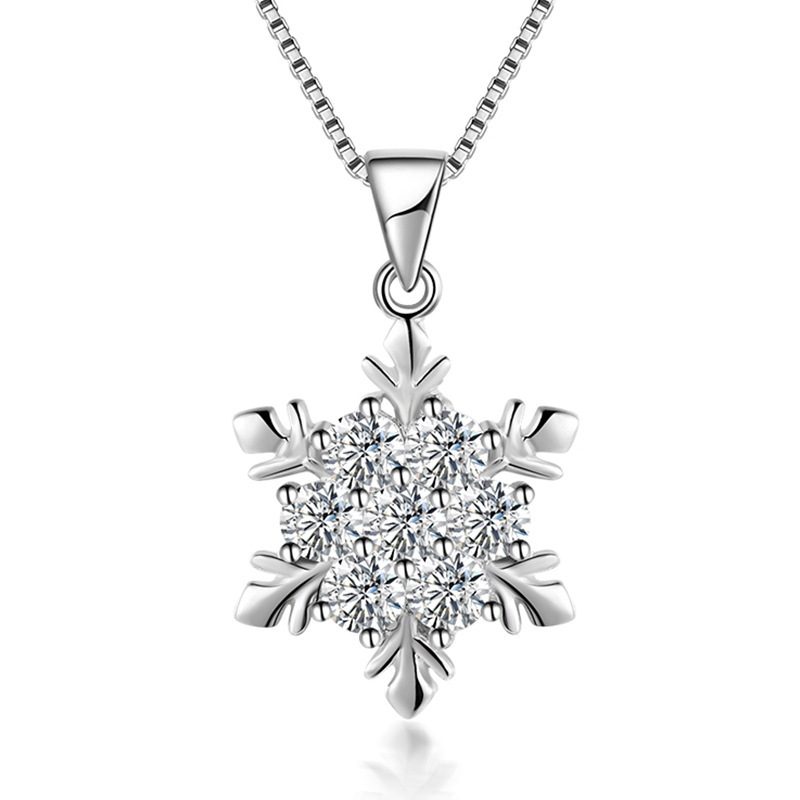 Simple Elegant Wedding Jewelry 925 Sterling Silver Cubic Zirconia Snowflake <font><b>Star</b></font> Necklace Women Girls Party Accessories