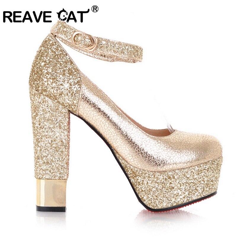 Mode Pompes Sapatos Chaussures Talons Gold Femmes Patchwork Reave Femininos D'été Sexy Partie Nouveau Printemps silver Hauts Glitter Chat Nq4 Boucle zMqSpUV