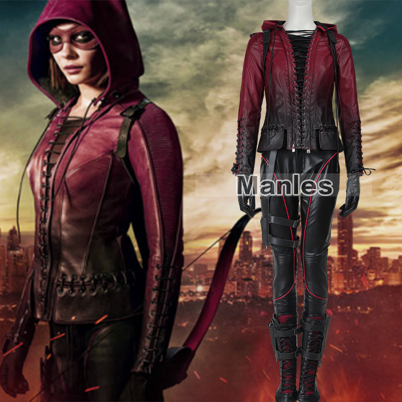 Green Arrow Season 4 Speedy Thea Queen Costume Cosplay Speedy Red Arrow Thea Queen Outfit Women Girls Halloween Customized