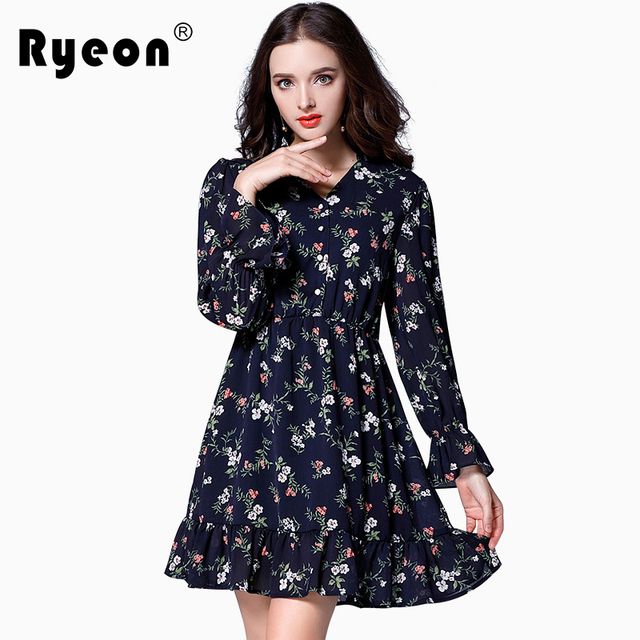 Ryeon Plus Size Floral Dress Women Autumn Spring Boho A Line Ruffles Bottom  Printed Long Sleeve 691567084e3f