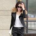 Mulheres jaqueta de couro jaquetas de couro da motocicleta projeto short slim primavera outono e inverno Realmente gola de pele de guaxinim tamanho M-5XL