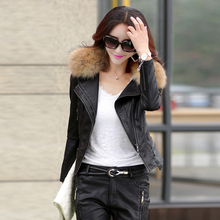 leather jacket women slim short design motorcycle leather jackets spring autumn and winter Really raccoon fur collar size M-5XL