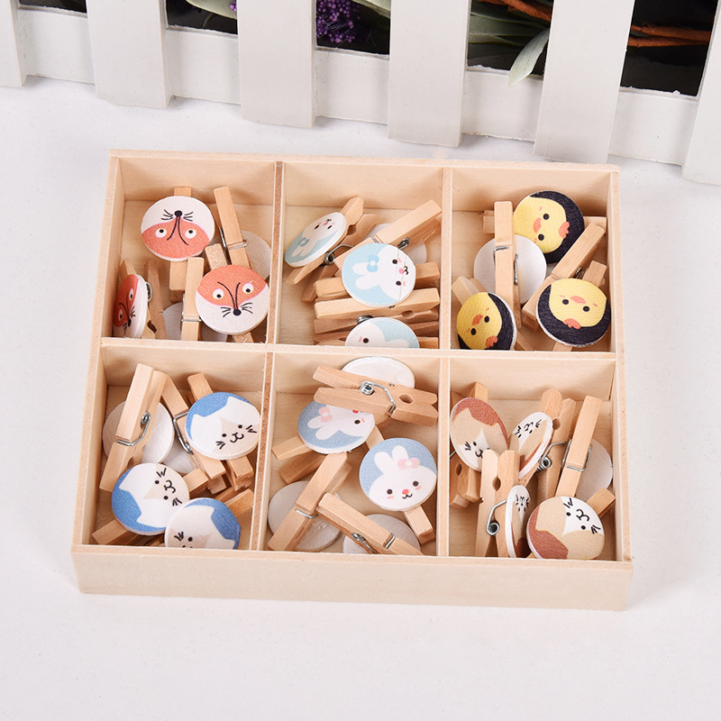 30pcs/box Cute Fox Chicken Wooden Clip Photo Paper Clothespin Craft Clips Party Decoration Clip With Hemp Rope Office & School Supplies